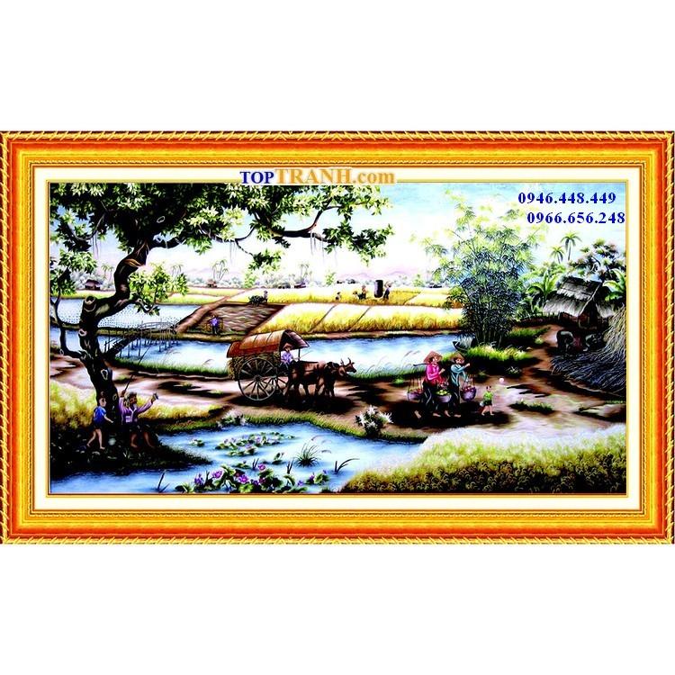 Tranh gắn đá làng quê Việt Nam | Tranh gắn đá phong cảnh
